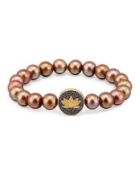 Sydney Evan | Brown Potato Pearl Bracelet With Sapphire & Diamond Lotus Station | Lyst