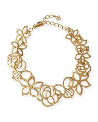 Oscar de la Renta | Metallic Intertwined Floral Statement Necklace | Lyst