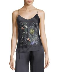 Meng - Black Floral-print Silk Camisole - Lyst