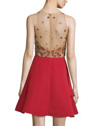 Notte by Marchesa Red Sleeveless Embellished Draped Faille Cocktail Dress
