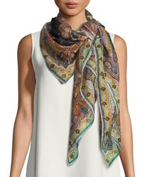 Etro - Multicolor Silk Paisley Scarf - Lyst