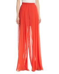 Delpozo - Red Sheer Silk Wide-leg Pants - Lyst