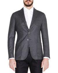 Giorgio Armani - Gray Basketweave Wool/cashmere Jacket for Men - Lyst