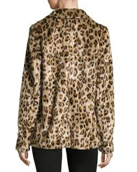 Theory - Brown Clairene Leopard Faux Fur Coat - Lyst