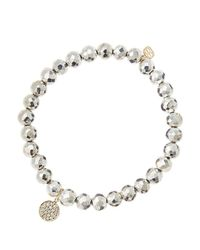 Sydney Evan | Metallic 6mm Faceted Silver Pyrite Beaded Bracelet With Mini Yellow Gold Pave Diamond Disc Charm (made To Order) | Lyst