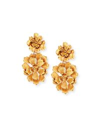 Oscar de la Renta - Metallic Blooming Bold Flower Drop Clip Earrings - Lyst
