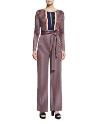Diane von Furstenberg | Blue Starla Long-sleeve Rickrack Stripe Jumpsuit | Lyst