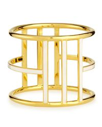 Nest - Metallic White Enamel Gold-plated Bangle - Lyst