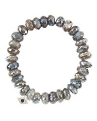 Sydney Evan | Gray 10mm Mystic Labradorite Beaded Bracelet With 14k Gold/diamond Small Starburst Charm (made To Order) | Lyst