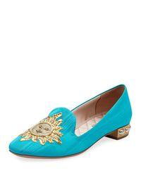 Aquazzura - Blue Embroidered Moire Loafer - Lyst