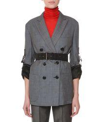 Prada - Gray Double-breasted Oversized Plaid Wool Blazer - Lyst