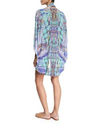 Camilla - Blue Open-front Embellished Silk Cardigan/cape Coverup - Lyst