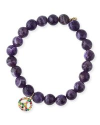 Sydney Evan - Purple 8mm Amethyst Beaded Bracelet With Rainbow Sapphire Peace Charm - Lyst