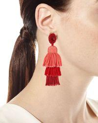 Oscar de la Renta | Long Silk Tiered Tassel Clip-on Earrings | Lyst