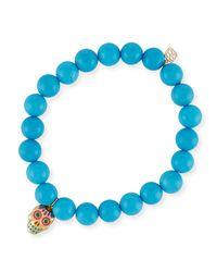 Sydney Evan - Blue Beaded Turquoise Bracelet With Sugar Skull Charm - Lyst
