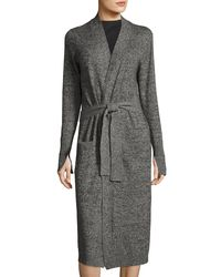 Halston Heritage - Black Long-sleeve Open-front Duster Cardigan - Lyst