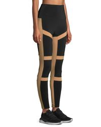 Norma Kamali - Black Spliced High-waist Contrast Leggings - Lyst
