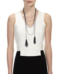 Brunello Cucinelli - Beaded Black Agate Tassel Necklace - Lyst