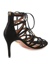 Aquazzura | Black Ivy Lace-up Suede 75mm Sandal | Lyst