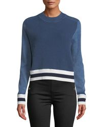 Rag & Bone - Blue Dean Stripe Mock-neck Cotton/wool Sweater - Lyst