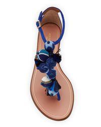 Aquazzura - Blue Wild Thing Fringed Slide Sandal - Lyst
