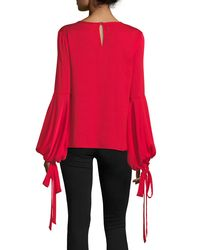 MILLY - Red Juliette Dramatic Bishop-sleeve Stretch-silk Top - Lyst