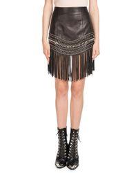 Balmain - Black Fringed Leather Chain-trim Skirt - Lyst
