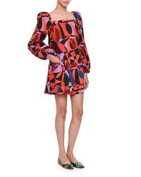 Tomas Maier - Red Geometric-pattern Babydoll Dress - Lyst