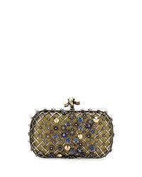 Bottega Veneta | Metallic Metal Lattice Mini Knot Clutch Bag | Lyst