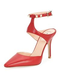 Valentino   Red Rockstud Leather Ankle-strap Pump   Lyst