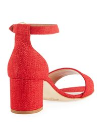 Manolo Blahnik - Red Laura Tomod Linen Ankle Sandal - Lyst