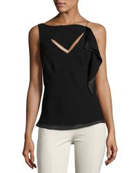 Olivier Theyskens Black Asymmetric Cutout Sleeveless Top