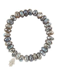 Sydney Evan | 10mm Mystic Labradorite Beaded Bracelet With 14k White Gold/diamond Small Hamsa Charm (made To Order) | Lyst