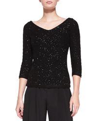 Carolina Herrera | Black V-neck Sequined Chevron Sweater | Lyst