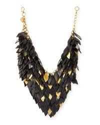 Ashley Pittman | Black Tanzu Dark Horn Layered Chain Leaf Necklace | Lyst