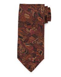 Ferragamo | Brown Plume-print Silk Tie for Men | Lyst