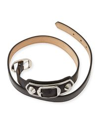 Balenciaga - Black Classic Leather Wrap Bracelet - Lyst