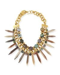 Ashley Pittman | Metallic Kali Mixed Horn Beaded Spike Necklace | Lyst