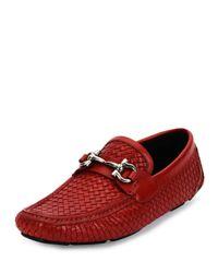Ferragamo   Red Woven Leather Bit Loafer   Lyst