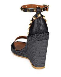 Valentino - Black Rockstud Leather Wedge Sandals - Lyst