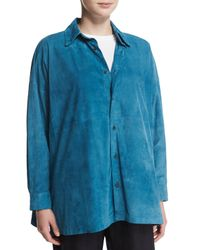 Eskandar - Blue Lightweight Suede Button-down Shirt - Lyst