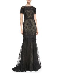 Carolina Herrera | Black Short-sleeve Tiered Lace Evening Gown | Lyst