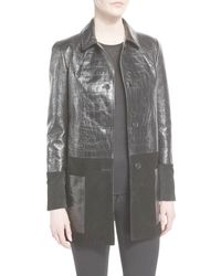 Tom Ford - Black Croc-embossed Leather & Suede Coat - Lyst