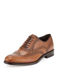 Ferragamo | Brown Gerard Calfskin Wing-tip Lace-up Oxford for Men | Lyst