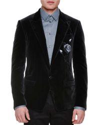 Dolce & Gabbana | Black Rose-embroidered Two-button Velvet Jacket for Men | Lyst