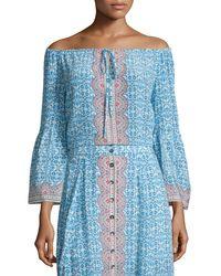 Nanette Lepore | Blue 3/4-sleeve Printed Silk Top | Lyst