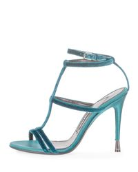 Tom Ford - Blue Velvet Cage 105mm Sandal - Lyst