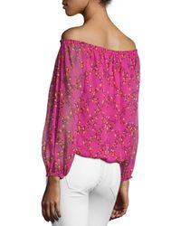 Diane von Furstenberg - Pink Kamber Shalamar Trellis Off-the-shoulder Silk Top - Lyst