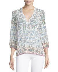 Joie | Multicolor Abelina Treasureprint Silk Blouse | Lyst