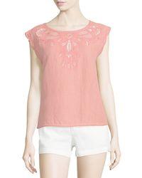 Joie - Pink Kinski Embroidered-eyelet Short-sleeve Top - Lyst